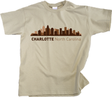 Youth Natural Charlotte, NC City Skyline - Charlotte Pride Carolina Panthers T-shirt