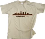 Youth Natural Cleveland, OH City Skyline - Cleveland Pride Indians Browns Love T-shirt