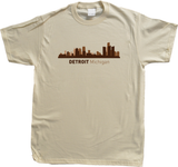 Unisex Natural Detroit, MI City Skyline - Michigan Pride Love Red Wings Tigers T-shirt