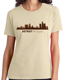 Ladies Natural Detroit, MI City Skyline - Michigan Pride Love Red Wings Tigers T-shirt