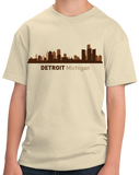 Youth Natural Detroit, MI City Skyline - Michigan Pride Love Red Wings Tigers T-shirt