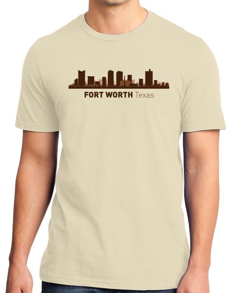 Unisex Natural Fort Worth, TX City Skyline - Texas Pride Love Cattle Drive Home T-shirt