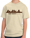 Youth Natural Fort Worth, TX City Skyline - Texas Pride Love Cattle Drive Home T-shirt