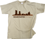 Youth Natural Grand Rapids, MI City Skyline - Michigan Pride Love River City T-shirt