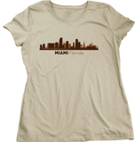 Ladies Natural Miami, FL City Skyline - Florida Love South Beach Little Havana T-shirt