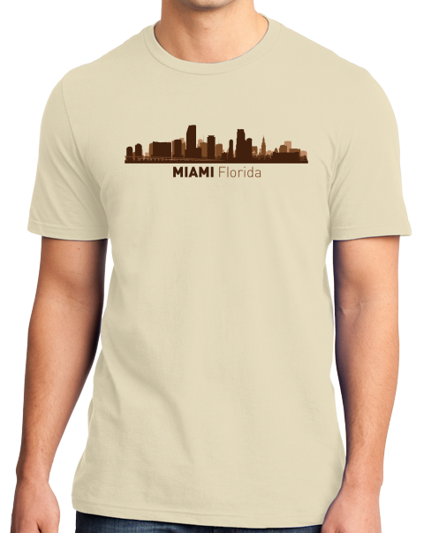 Unisex Natural Miami, FL City Skyline - Florida Love South Beach Little Havana T-shirt