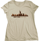 Ladies Natural New York, NY City Skyline - NYC Broadway Yankees Giants Rangers T-shirt