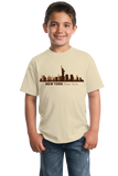 Youth Natural New York, NY City Skyline - NYC Broadway Yankees Giants Rangers T-shirt