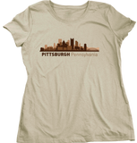 Ladies Natural Pittsburgh, PA City Skyline - Pitt Andy Warhol Museum Pirates T-shirt