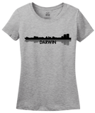 Ladies Grey Darwin, Australia City Skyline - Darwin Love Hometown City Pride T-shirt