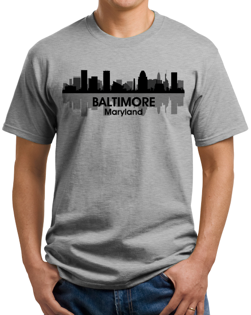 Unisex Grey Baltimore, Md City Skyline - Baltimore Orioles Ravens Love Pride T-shirt