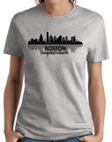 Ladies Grey Boston, Ma City Skyline - Beantown Pride Patriots Red Sox Love T-shirt