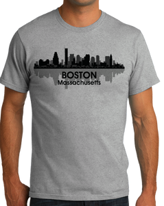 Unisex Grey Boston, Ma City Skyline - Beantown Pride Patriots Red Sox Love T-shirt