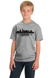 Youth Grey Boston, Ma City Skyline - Beantown Pride Patriots Red Sox Love T-shirt