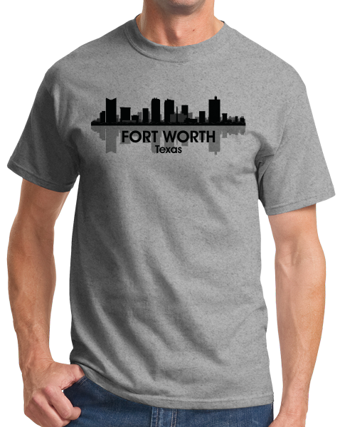 Unisex Grey Fort Worth City Skyline - Texas Pride Van Cliburn Cattle Drive T-shirt