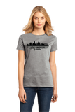 Ladies Grey Los Angeles, CA City Skyline - City of Angels Hollywood Love LA T-shirt