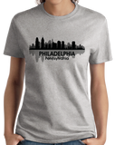 Ladies Grey Philadelphia, PA City Skyline - Philly Pride Eagles 76ers Love T-shirt