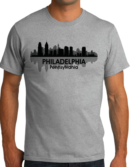 Unisex Grey Philadelphia, PA City Skyline - Philly Pride Eagles 76ers Love T-shirt