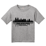 Youth Grey Philadelphia, PA City Skyline - Philly Pride Eagles 76ers Love T-shirt