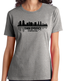 Ladies Grey San Diego, CA City Skyline - Zoo Safari Park Balboa Park Love T-shirt