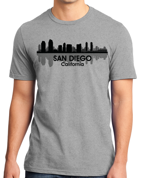 Unisex Grey San Diego, CA City Skyline - Zoo Safari Park Balboa Park Love T-shirt