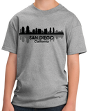 Youth Grey San Diego, CA City Skyline - Zoo Safari Park Balboa Park Love T-shirt