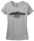 Ladies Grey Seattle City Skyline - Space Needle Grunge Rock Home Love Pride T-shirt
