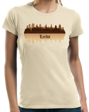 Ladies Natural Leeds, England City Skyline - West Yorkshire Leeds United A.F.C. T-shirt