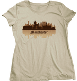 Ladies Natural Manchester, England City Skyline - Manchester United City Pride T-shirt