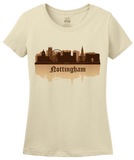 Ladies Natural Nottingham, England City Skyline - Robin Hood Nottingham Forest T-shirt