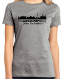 Ladies Grey WASHINGTON, DC CITY SKYLINE T-shirt