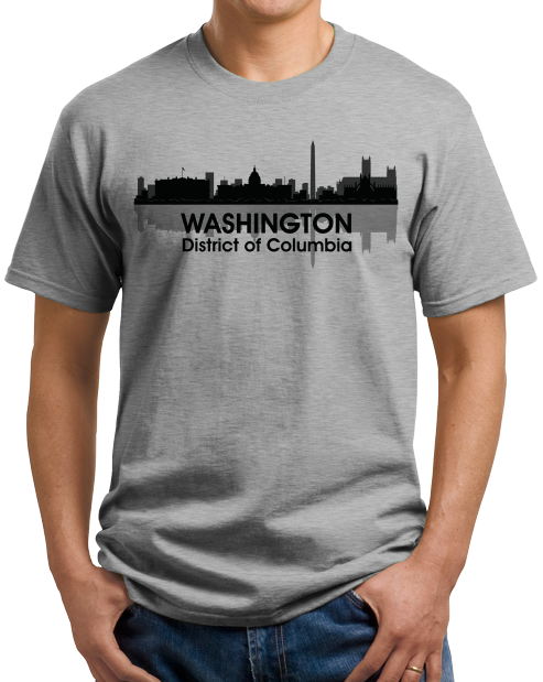 Unisex Grey WASHINGTON, DC CITY SKYLINE T-shirt