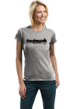 Ladies Grey Skyline Of Abu Dhabi, UAE - United Arab Emirates Dubai City T-shirt