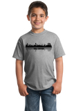 Youth Grey Skyline Of Abu Dhabi, UAE - United Arab Emirates Dubai City T-shirt