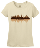Ladies Natural St. Petersburg, Russia City Skyline - Leningrad Russian Love T-shirt