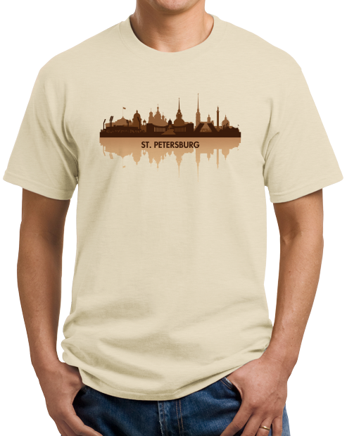 Unisex Natural St. Petersburg, Russia City Skyline - Leningrad Russian Love T-shirt