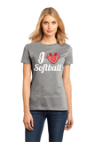 Ladies Grey I Heart Softball (Heart Made Of Cleats) - Softball Love Player T-shirt