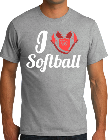 Standard Grey I Heart Softball (Heart Made Of Cleats) - Softball Love Player T-shirt