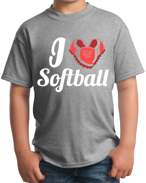Youth Grey I Heart Softball (Heart Made Of Cleats) - Softball Love Player T-shirt