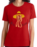 Ladies Red El Tocino - Spanish Translation Bacon Funny Espanol Bilingual T-shirt