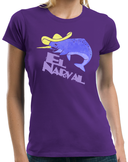 Ladies Purple El Narval - Spanish Translation Narwhal Funny Cute Unicorn T-shirt