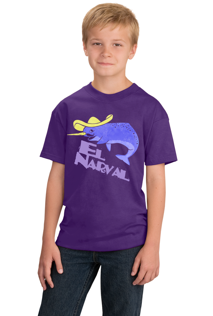Youth Purple El Narval - Spanish Translation Narwhal Funny Cute Unicorn T-shirt