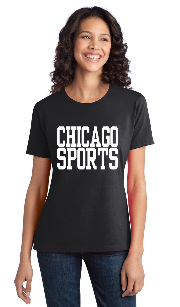 Ladies Black Chicago Sports - Generic Funny Sports Fan T-shirt