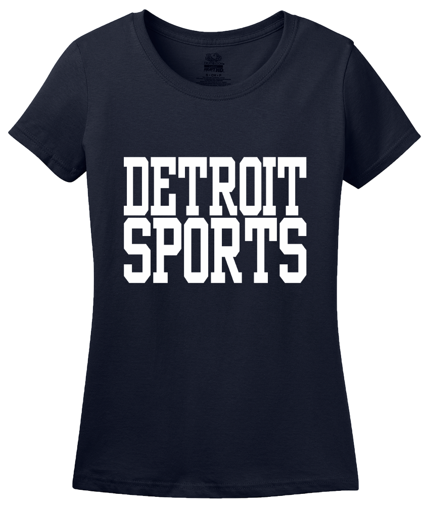 Ladies Navy Detroit Sports - Generic Funny Sports Fan T-shirt