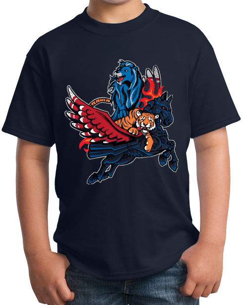 Youth Navy Detroit Sports Fan Mash-Up - Motown, Motor City Athletics T-shirt