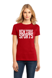 Ladies Red New York Sports - Generic Funny Sports Fan T-shirt