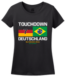 Ladies Black Touchdown Deutschland - 2014 FIFA World Cup German Soccer Fan T-shirt