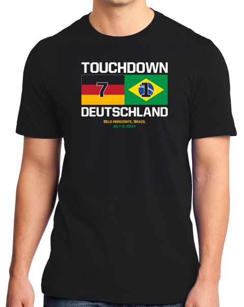 Standard Black Touchdown Deutschland - 2014 FIFA World Cup German Soccer Fan T-shirt