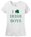 Ladies White I Shamrock Irish Boys - St. Pat's Day Cute I Love Irish Boys T-shirt