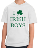Youth White I Shamrock Irish Boys - St. Pat's Day Cute I Love Irish Boys T-shirt